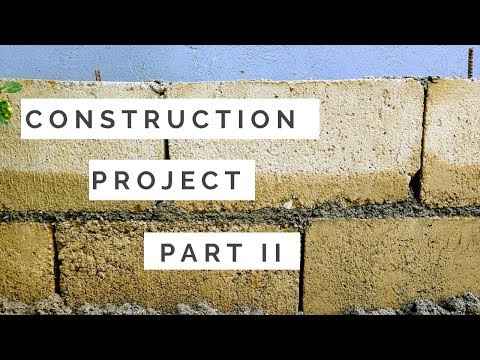 Build a house in the Philippines: Mix Sand, Cement and Pile Hollow Blocks Part 2