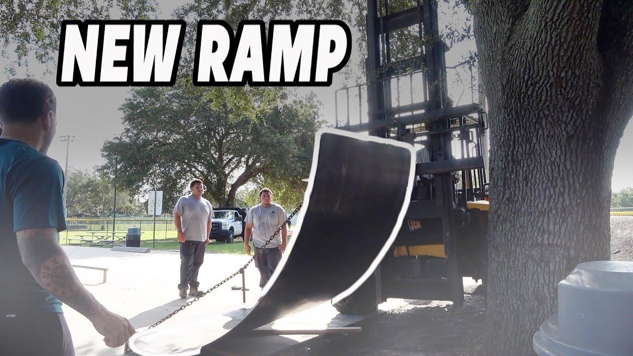 We got a NEW RAMP at the skatepark!