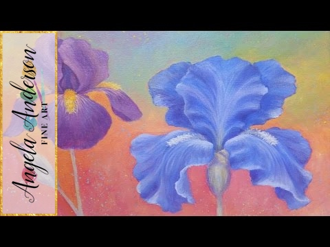Iris Flower Acrylic Painting Instruction How To Paint
