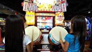 Wadaiko Taiko No Tatsujin Japanese Drumming Master Arcade Game Video With 4 Kids Competing
