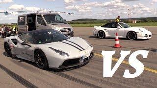 Ferrari 488 GTB Capristo vs F12 NOVITEC vs 9ff Porsche Turbo! thumbnail