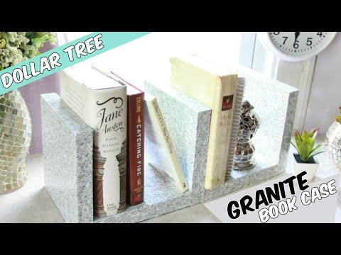 DOLLAR TREE GRANITE BOOK SHELF D.I.Y TUTORIAL
