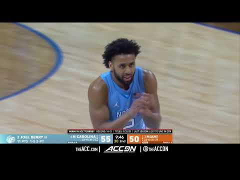 ACC MBB Tournament: North Carolina vs Miami Condensed Game 2018