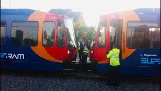 Sheffield Stagecoach SuperTram 106 Pulling Broken Down Tram 124 At Halfway On 25 July 2014