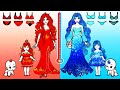 Paper Dolls Dress Up - Red and Blue Hot vs Cold Unicorns Dresses Handmade - Barbie Story & Crafts