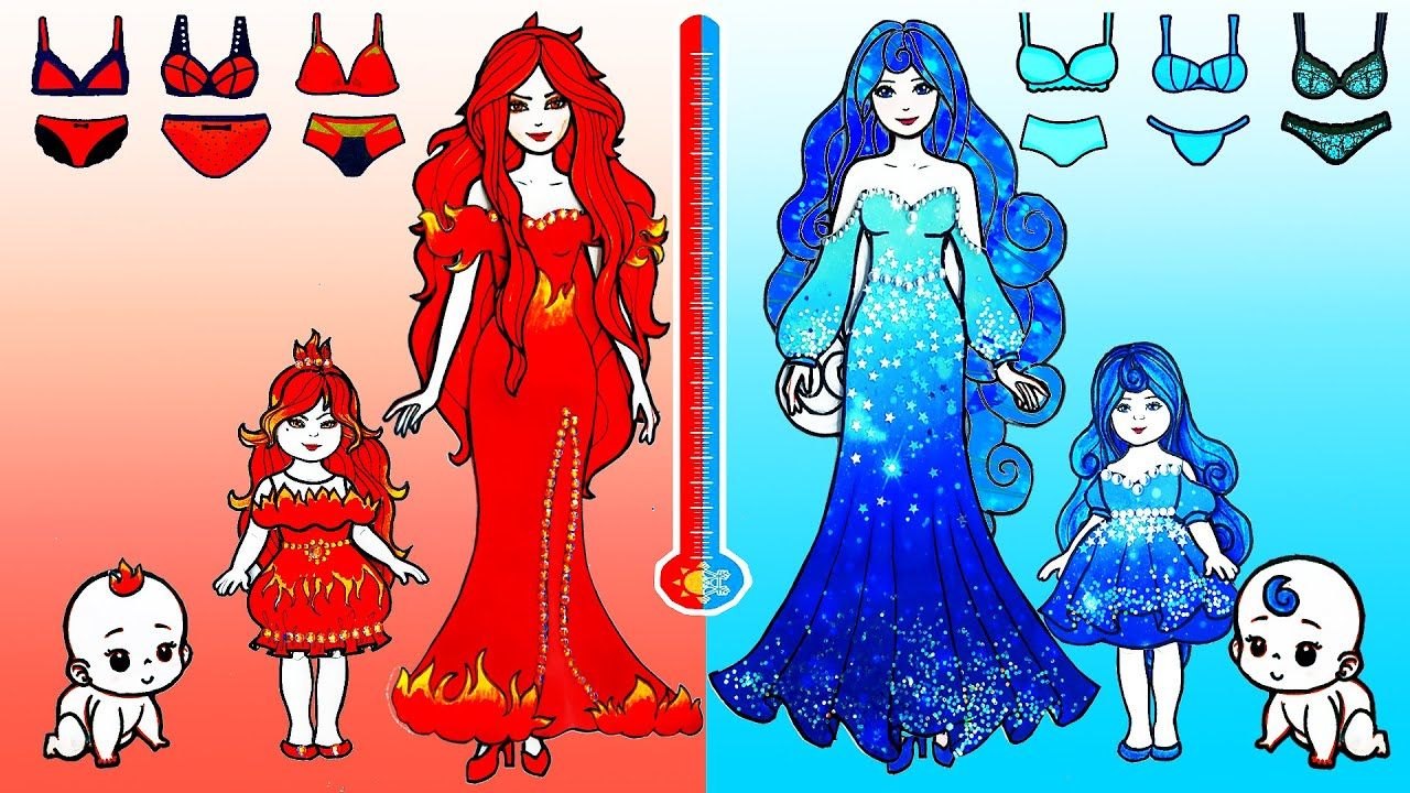 Download Paper Dolls Dress Up - Red and Blue Hot vs Cold Unicorns Dresses Handmade - Barbie Story & Crafts