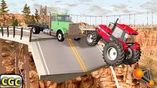 Collapsing Bridge Crashes (destructible bridge) BeamNG Drive