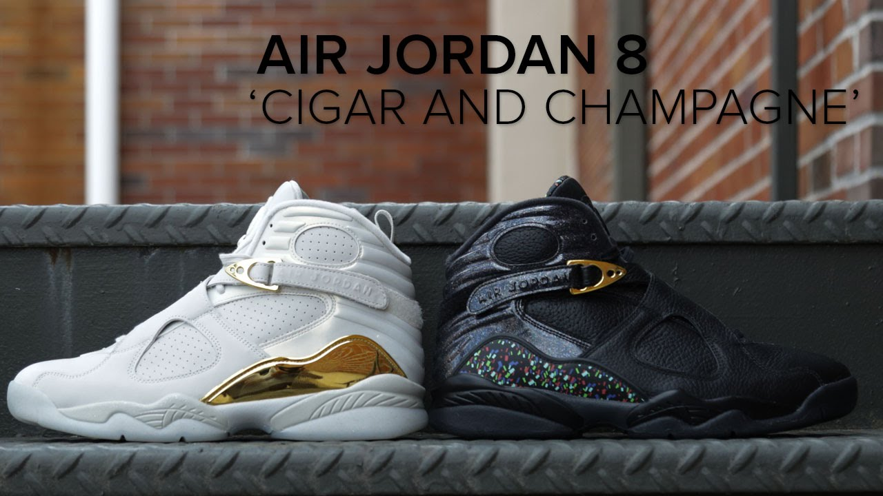 size 40 d2e4f d44c3 Air Jordan 8 Retro  Cigar and Champagne  Pack On Feet Look - YouTube