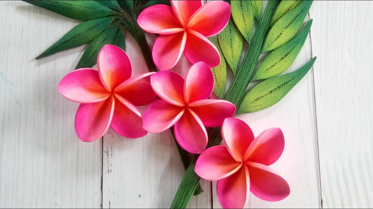 How To Make Quilling Flower(Pink Plumeria) [Quilling Flower Tutorial [DIY [Paper Quilling   Full Video