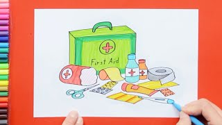 How to draw and color a first aid kit box