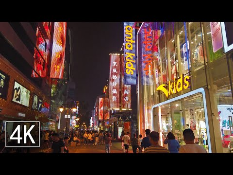 【4K60】Night Walk in Tianjin, China | Binjiang Avenue Shopping Street | Maze of Lights | 中国天津市滨江道步行街