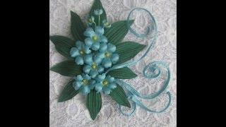Цветы из ткани своими руками.  Фиалка -брошь к платью (3 часть) Как крепить заколку.