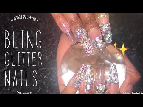 Acrylic Nails Tutorial   Clear Glitter Nails