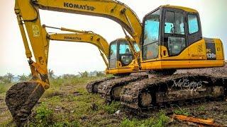 Komatsu PC130F-7 Swamp Excavator Digging Pond