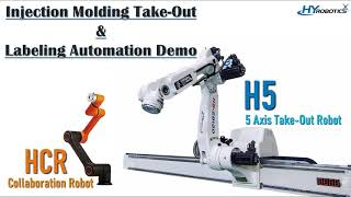 HYRobotics H5 Mold Take Out Robot & Hanhwa HCR-5 Cobot Labeling Automation