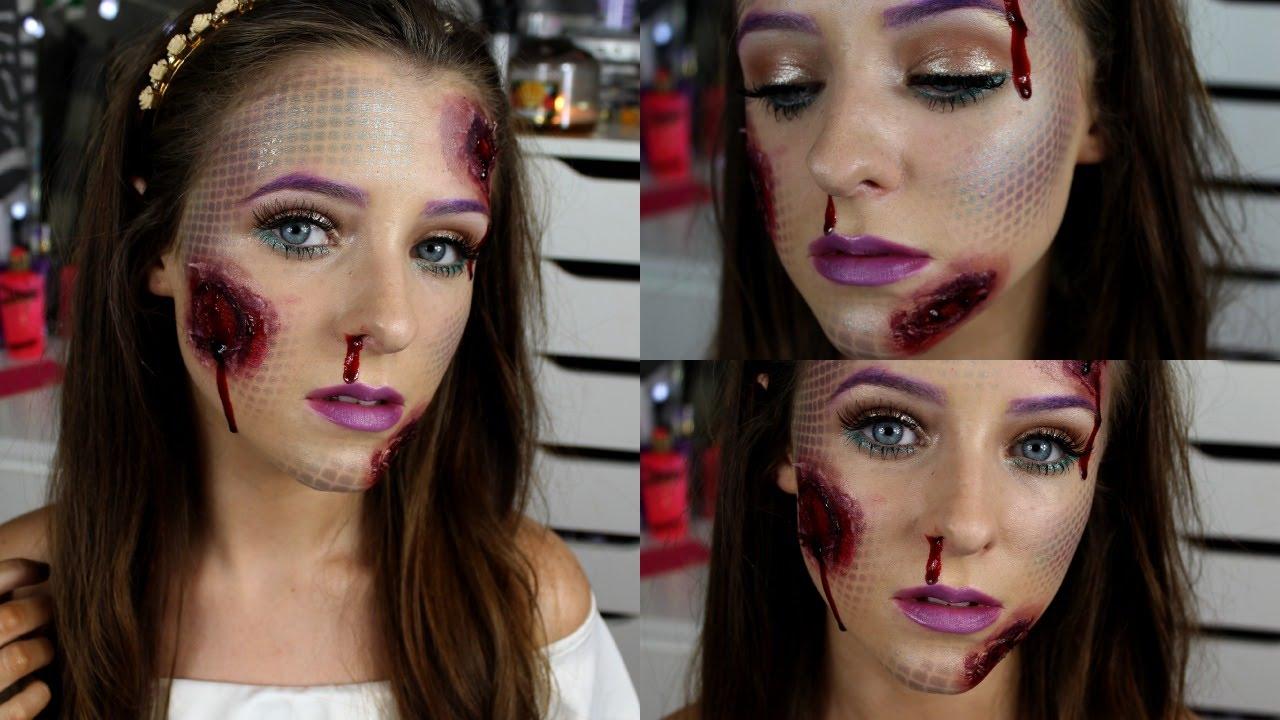 Open Wound Mermaid Makeup ♡ Halloween Tutorial - YouTube