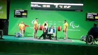 شريف عثمان يكسر الرقم البارالمبي برفع وزن 211 كيلو جرام .. فيديو وصور
