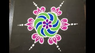 Simple Lotus Flower Rangoli Design with Beautiful Colours & Dots 7x4 for  Beginners | Easy Kolam