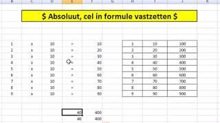 excel cel vastzetten in formule