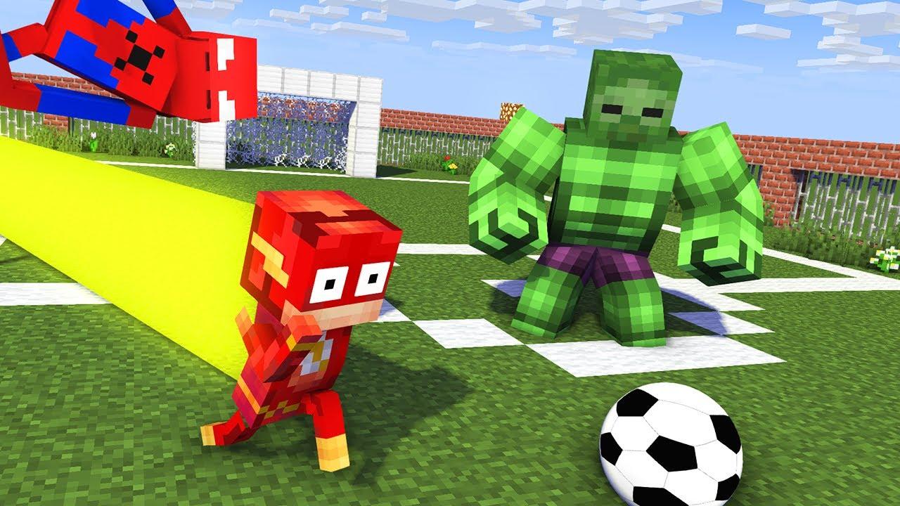Monster School : BECAME A SUPERHERO FOOTBALL Challenge - Minecraft Animation