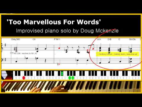 'Too Marvellous For Words' - Jazz piano tutorial