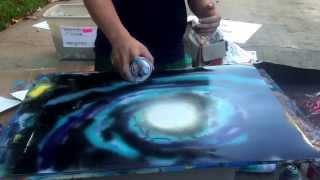 Spray Paint Art LIVE Tutorial: Galaxy 1 Purple and Blue