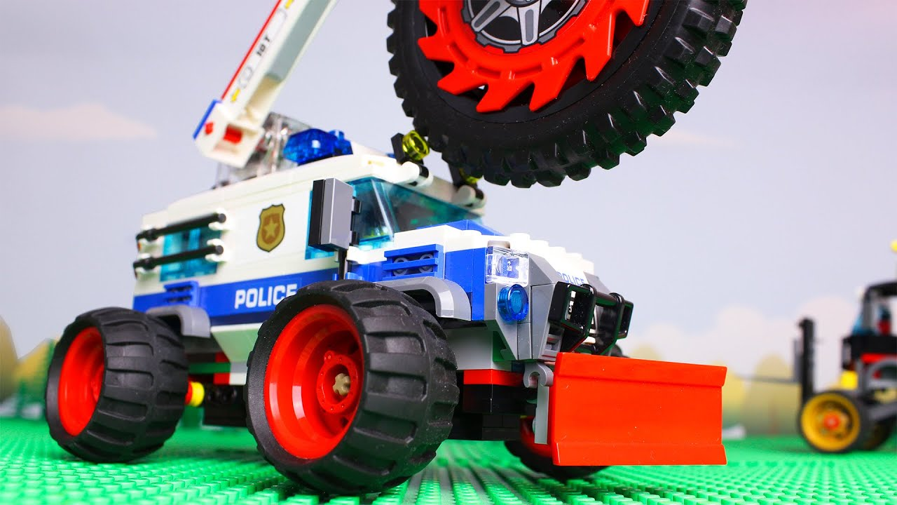 LEGO Cars and Trucks Experimental Bulldozer Steamroller Police Car video for kids