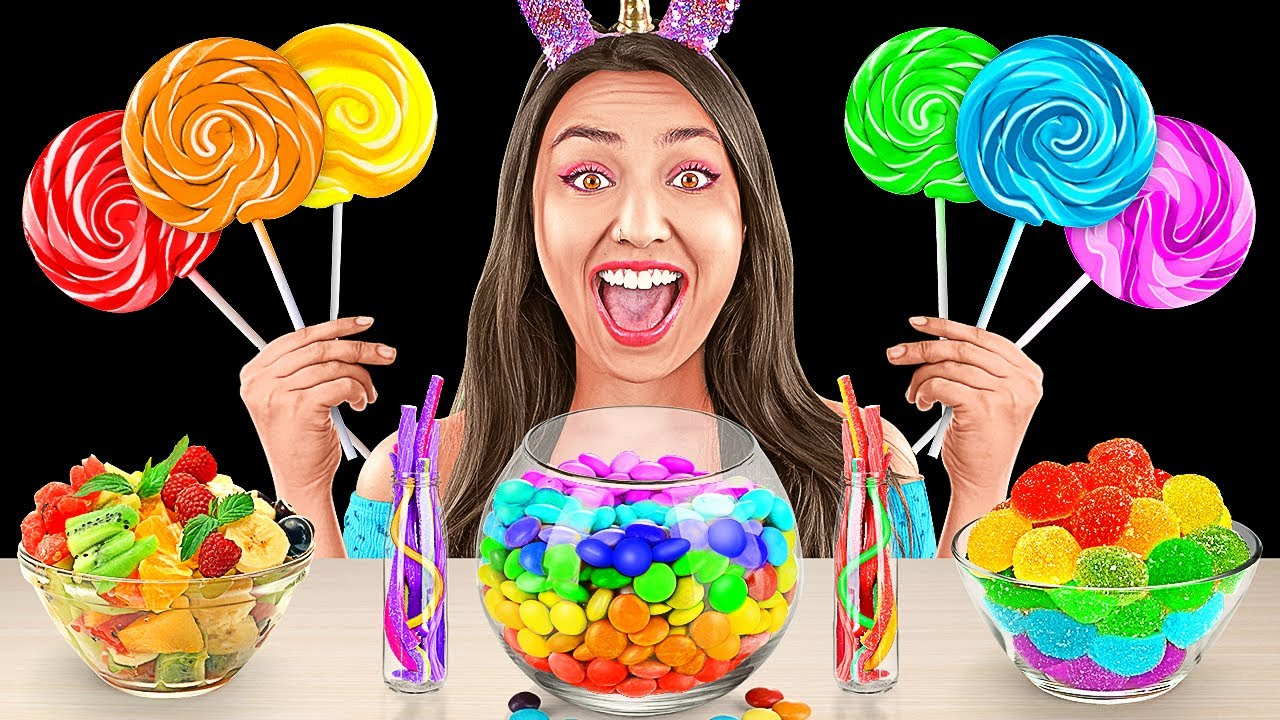 RAINBOW FOOD MUKBANG! Eating Only Rainbow Color Food for 24 Hours! Most Popular Rainbow Food BRAVO!