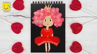 Как нарисовать принцессу. Уроки рисования для детей. Рисуем принцессу поэтапно.