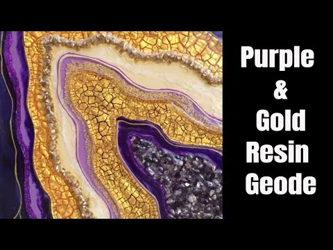 Purple and Gold Resin Geode - How I finished my piece from the LIVE