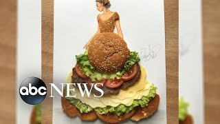 This fashion illustrator makes masterpiece sketches out of food, plants and more