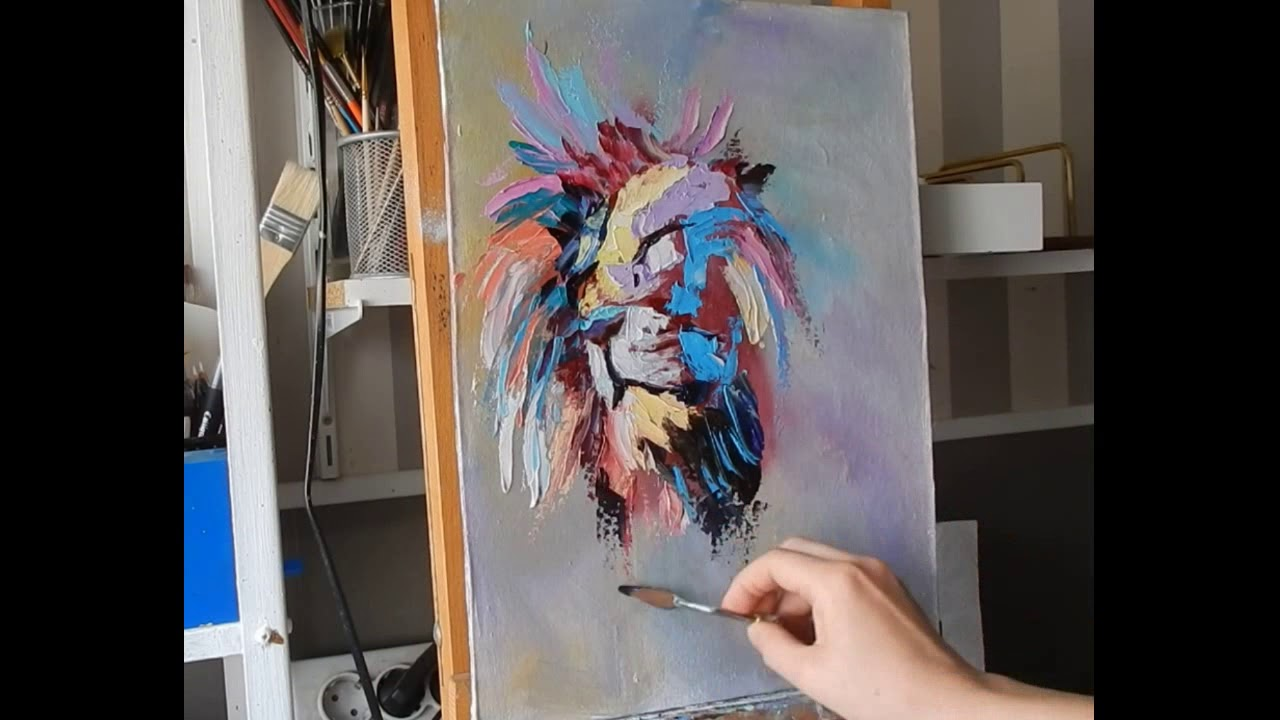 Colorful Lion Painting Artist