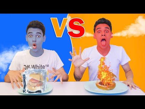 تحدي تناول الطعام الساخن ضد البارد ل24 ساعة !! من يتوقف يخسر - EL Twins - التوينز