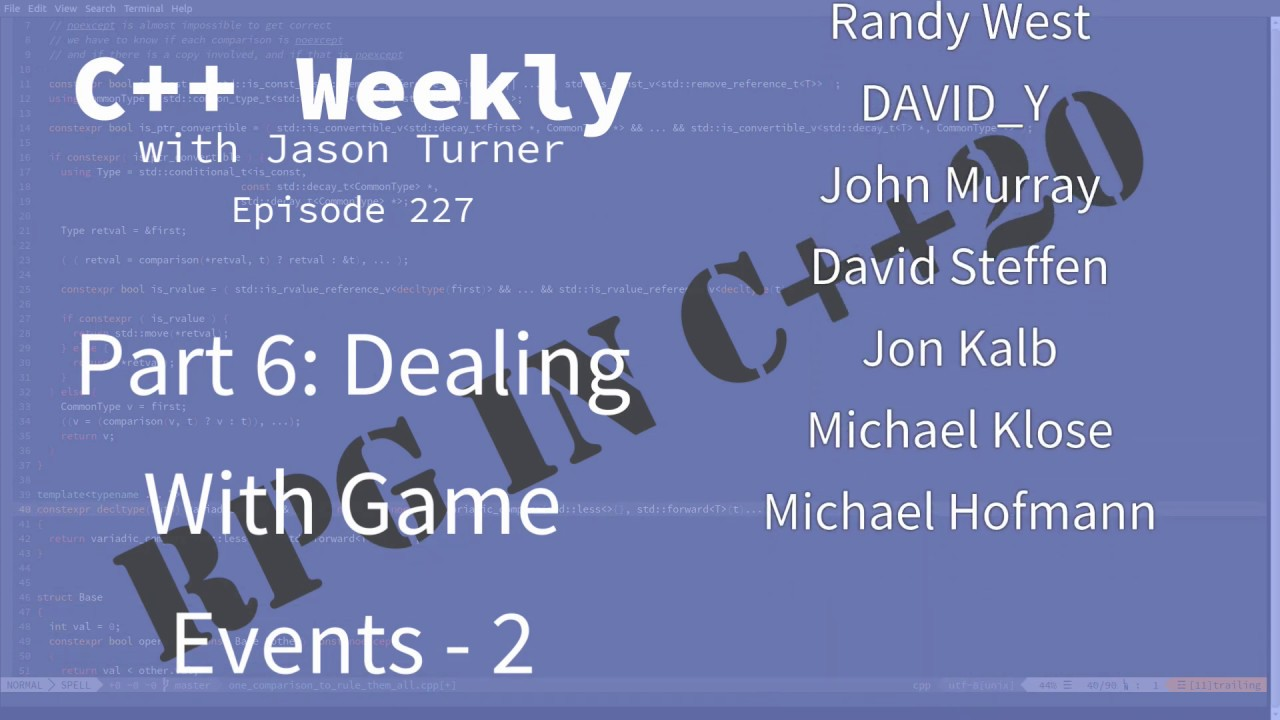 C++ Weekly - Ep 227 - RPG In C++20 - Part 6: Dealing With Game Events - 2