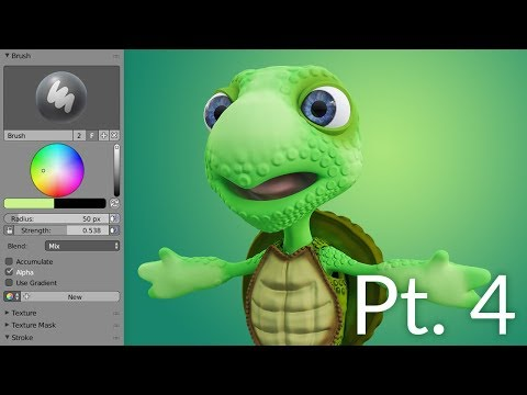 CGC Classic: Creating a Cartoon Turtle Pt. 4 - Texturing (Blender 2.6)