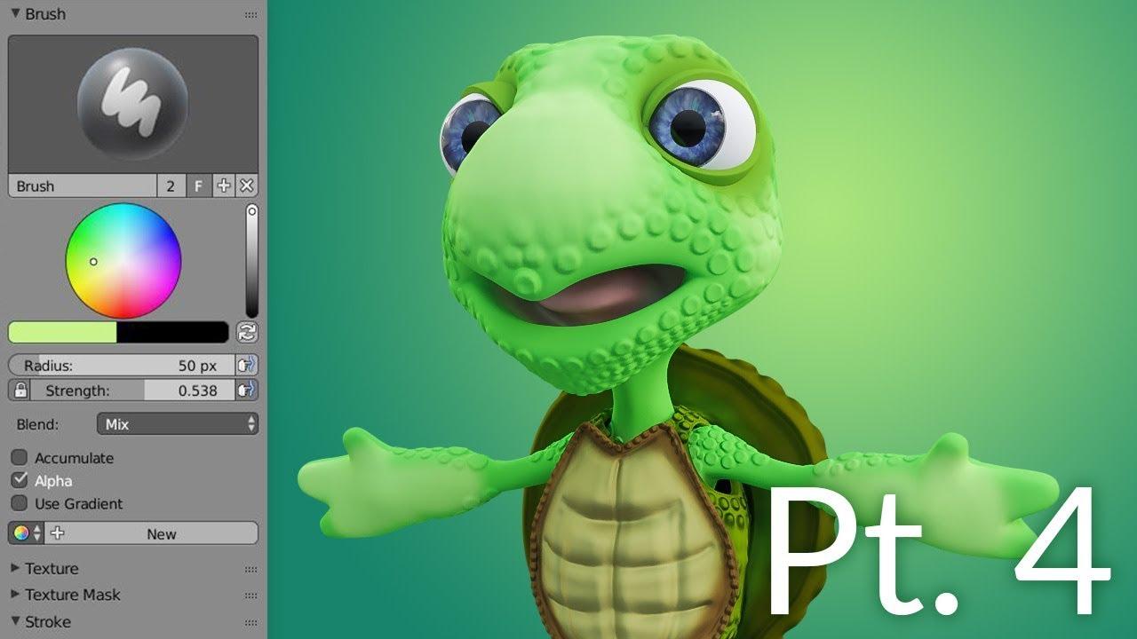 CGC Classic Creating a Cartoon Turtle Pt 4  Texturing Blender