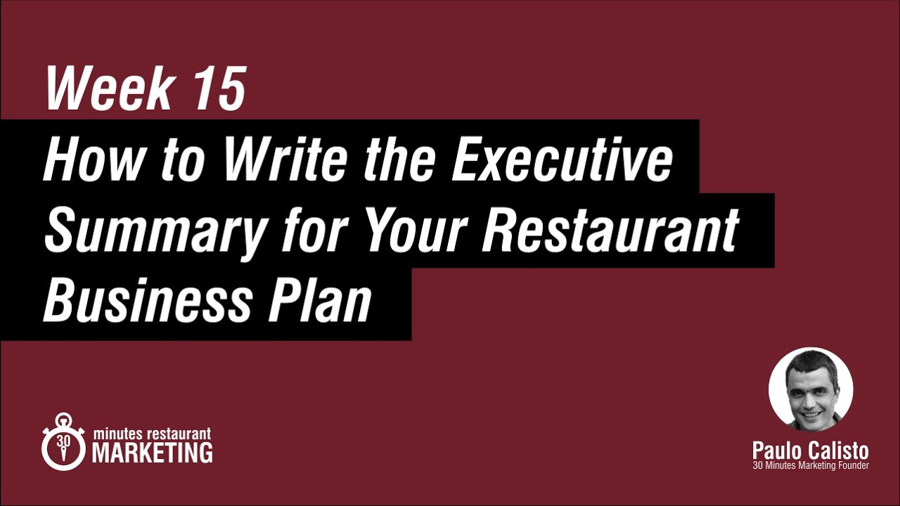 Executive summary for restaurant business plan