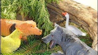 Домашние животные в лесу. ВСТРЕЧА С ВОЛКОМ. (3 СЕРИИ подряд). Мультфильмы про животных для детей.