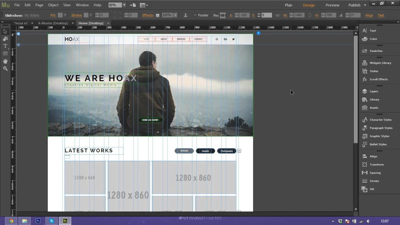How to Use and Customize Adobe Muse Template - HOAX - YouTube