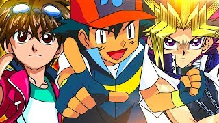 Ash (Pokémon) VS. Yugi (Yu-Gi-Oh) VS. Dan (Bakugan) | Duelo de Titãs Part. MB
