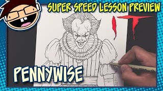 Lesson Preview: How to Draw PENNYWISE THE CLOWN (IT [2017] Movie) | Super Speed Time Lapse Art