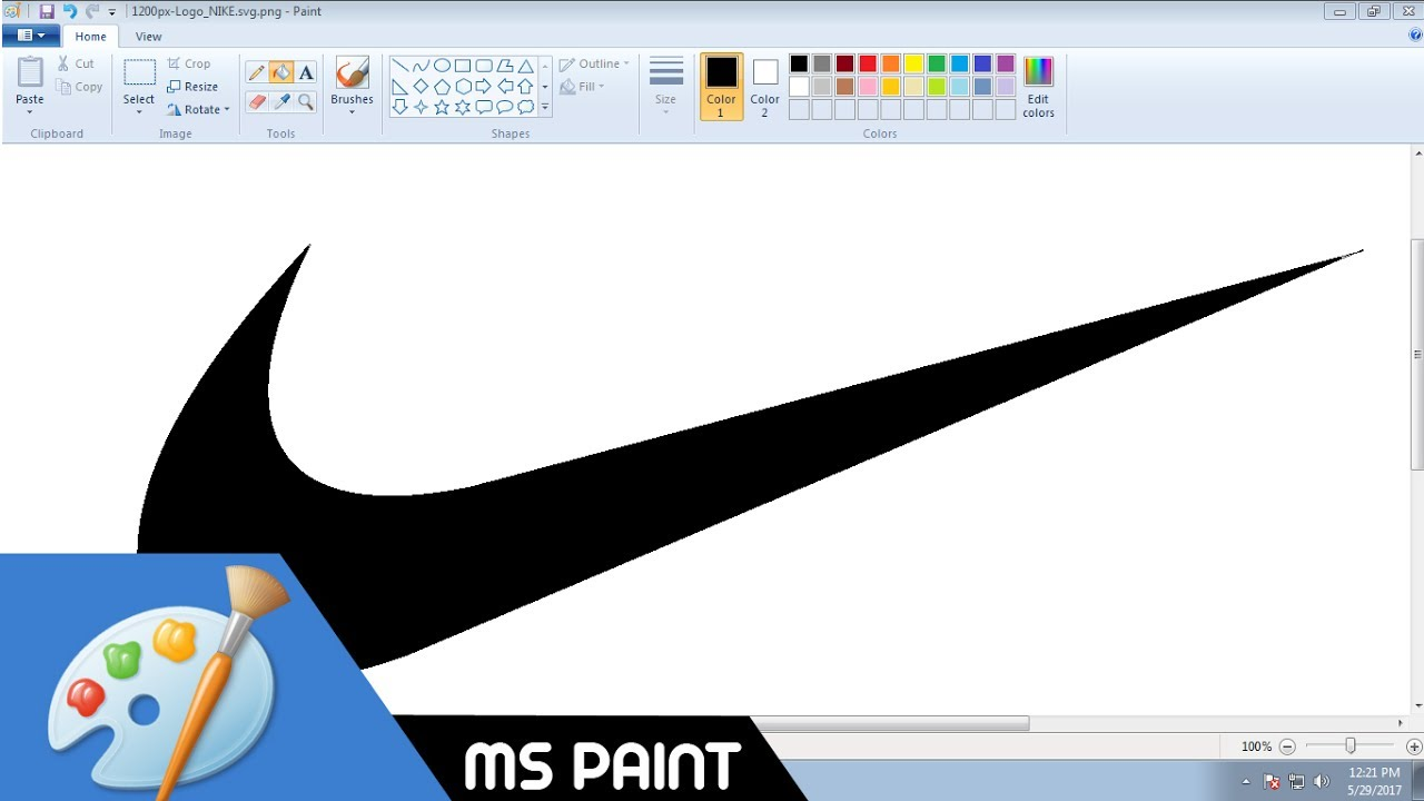 How To Draw Nike Swoosh Logo In Ms Paint From Scratch