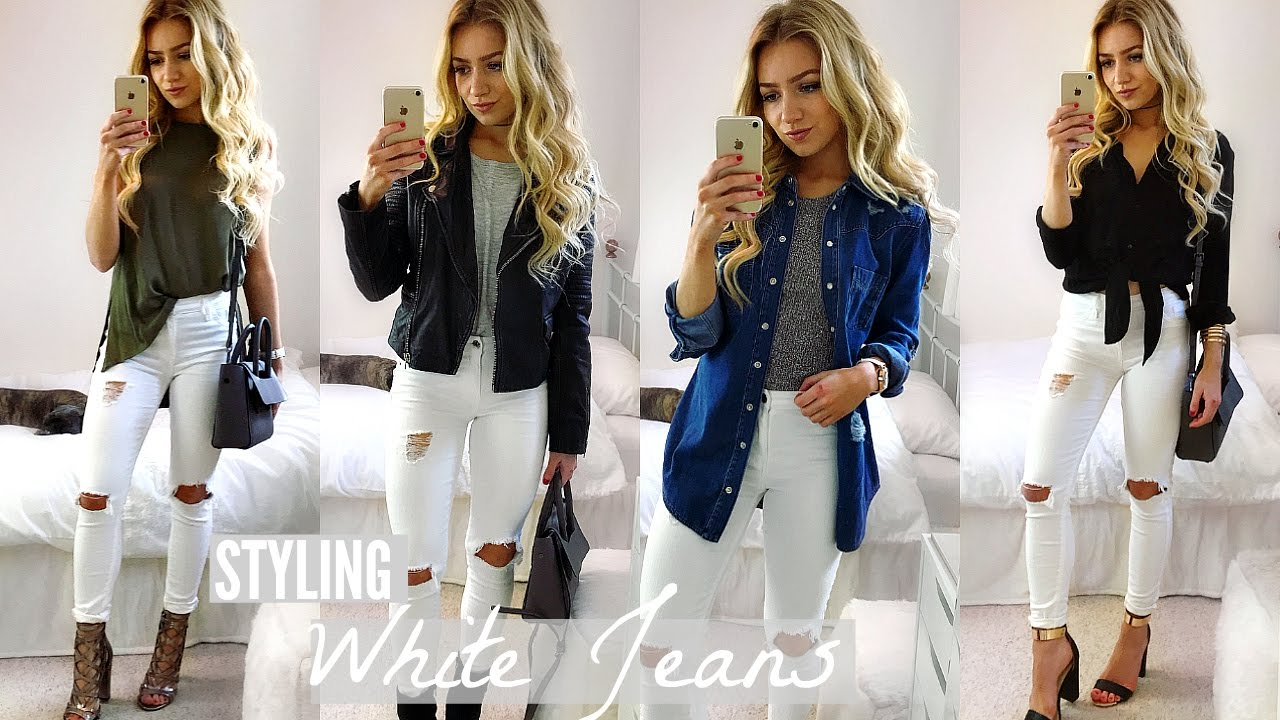 cab1a75f47b8 HOW TO WEAR WHITE JEANS ALL YEAR ROUND!   HOW I STYLE - YouTube