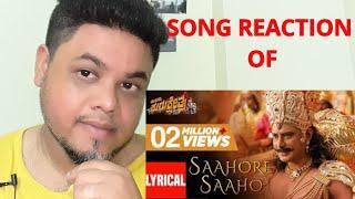 Saahore Saaho Lyrical Song Reaction Munirathna Kurukshetra Darshan Munirathna V Harikrishna