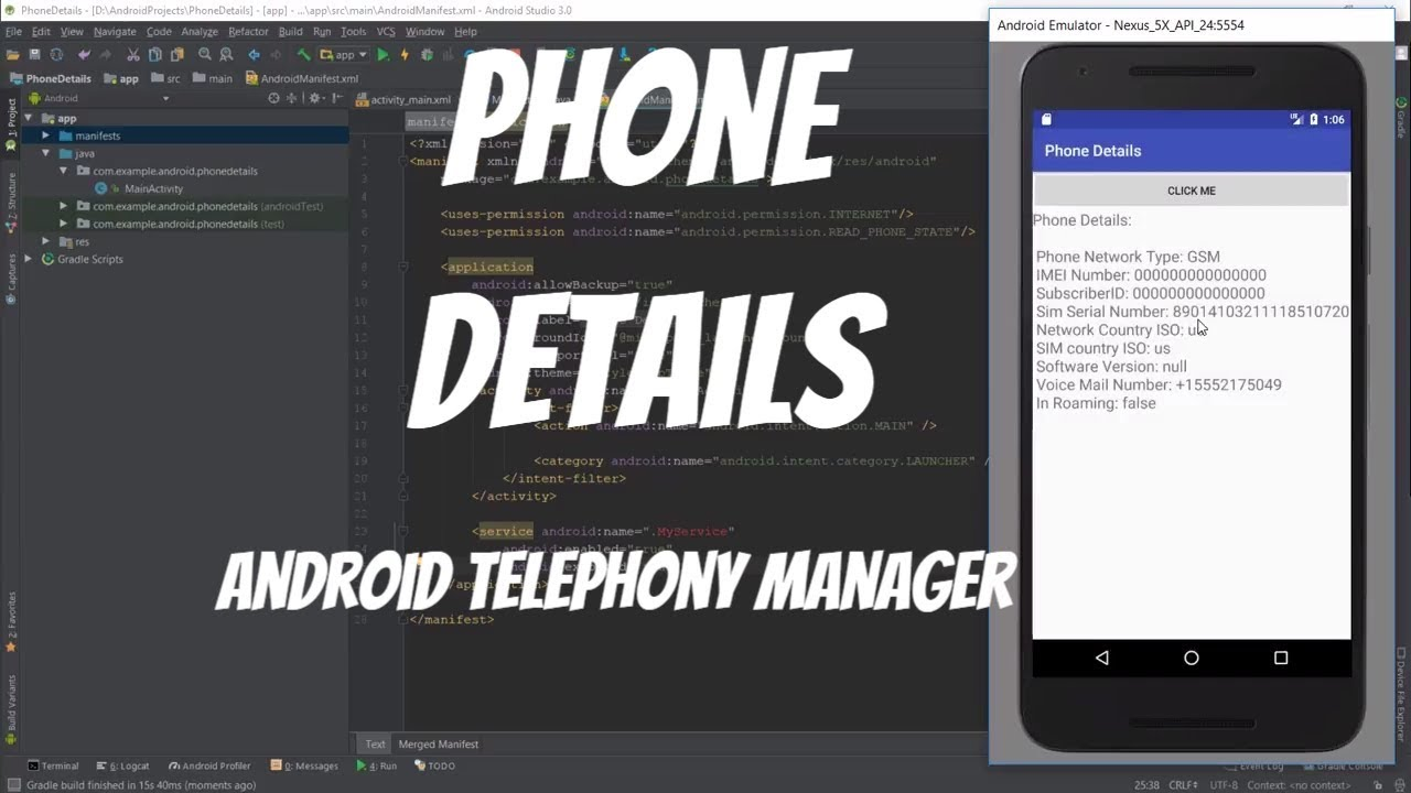 Android Telephony Manager Tutorial 41 - Phone Details