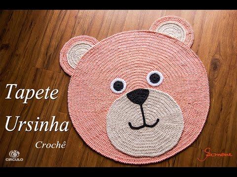Tapete de Croche  Redondo Ursinha - Professora Simone Crochet Infantil passo a passo