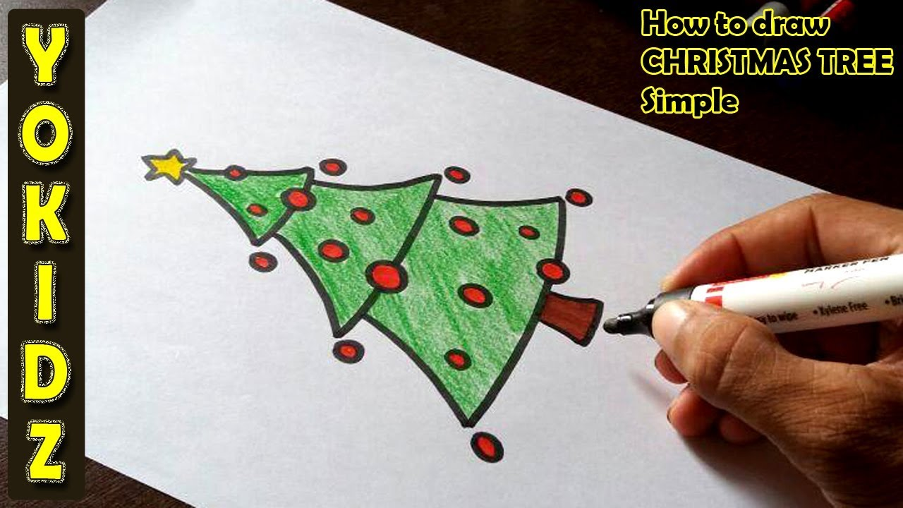 How To Draw A Christmas Tree Simple Youtube