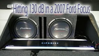 """2007 Ford Focus 5,000 Watts! Pioneer 2 12"""" Subwoofers @ 130dB!"""