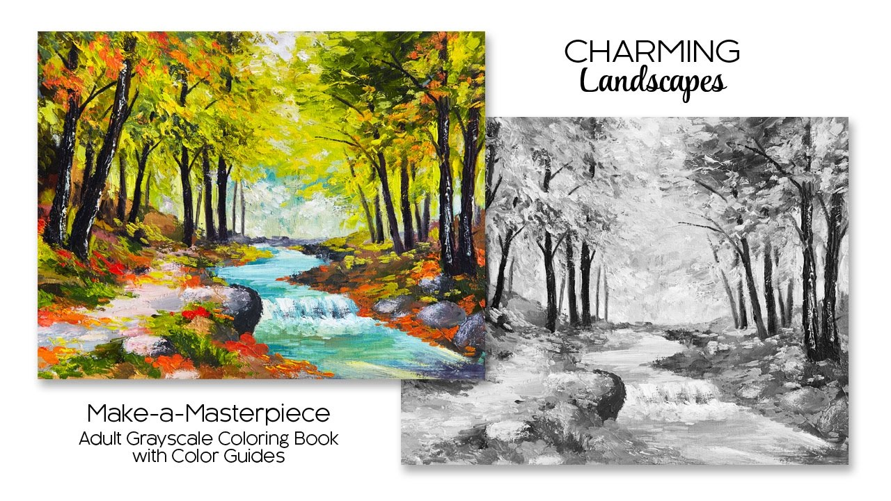 Charming Landscapes Adult Grayscale Coloring Book With Color Guides