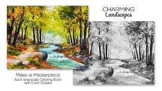 Charming Landscapes Grayscale Coloring Book Color Guides